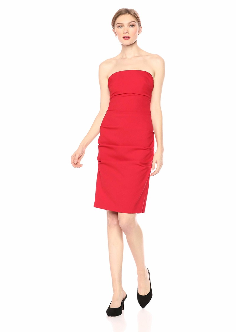 Nicole Miller Stretch Crepe Fitted Wrap Office Pencil Party Dress 10 38 £273 New