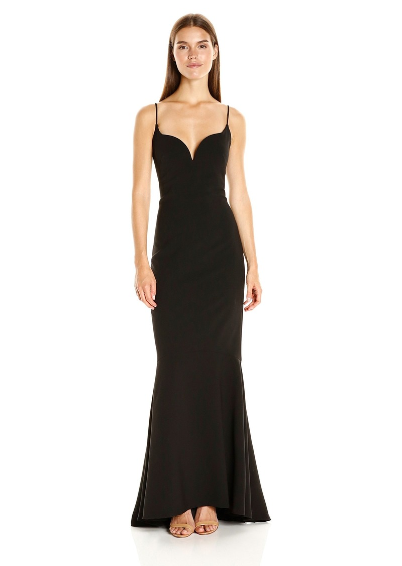 Nicole Miller Women's Techy Crepe V Bar Gown