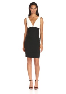 Nicole Miller Women's Techy Crepe Vneck Dress with Seaming Detail