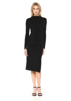 Nicole Miller Women's Tidal Pleat Knit Mock Nk Dress Black S
