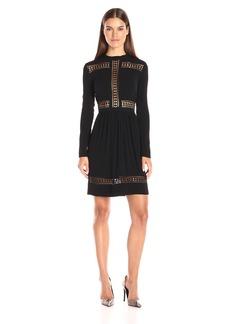 Nicole Miller Women's Trim Crinkle Satin Back Crepe Midi Dress