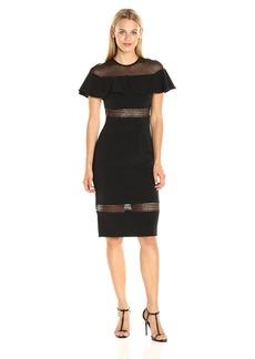 Nicole Miller Women's Trim Techy Crepe Ruffle Combo Dress