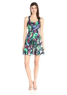Nicole Miller Women's Tropical Floral Stretch Dress