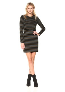 Nicole Miller Women's Vintage Stripe Pop Over Sweatshirt Dress  M
