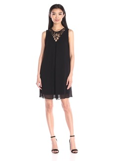 Nicole Miller Women's Viscose GGT Lattice Neck Dress