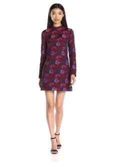 Nicole Miller Women's Wildflowers Jacquard Long-Sleeve Mini Dress