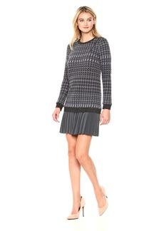 Nicole Miller Women's Wispy Houndstooth Pleated Tweed Dress Grey Multi (GRM) S