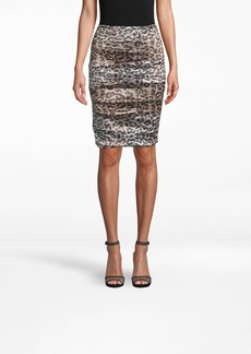 Nicole Miller Nyc Leopard Techno Metal Sandy Skirt