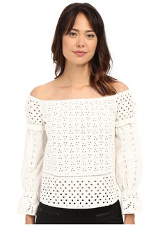 Nicole Miller Off the Shoulder Eyelet Peasant Top