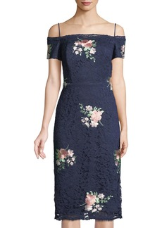 Nicole Miller Off-The-Shoulder Floral-Embroidered Lace Cocktail Dress