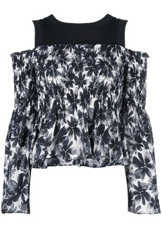 Nicole Miller painted flowers blouse