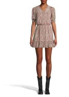Nicole Miller Partridge Stripe Embroidered Mini Dress