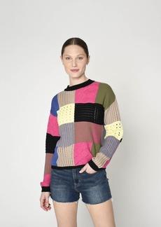 Nicole Miller Patchwork Crew Neck Sweater