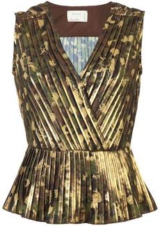 Nicole Miller pleated v-neck blouse