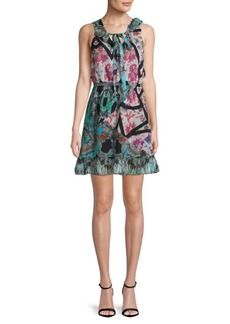 Nicole Miller Pleated V-Neck Silk Day Dress