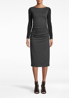 Nicole Miller Ponte Long Sleeve Ruched Dress