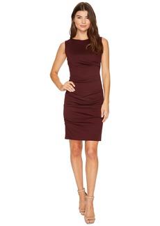 Nicole Miller Ponte Sleeveless Tucked Dress