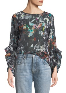 Nicole Miller Printed-Chiffon Pleated Bell-Sleeve Blouse