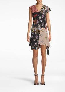 Nicole Miller Provence Floral Embellished Patchwork Asymmetrical