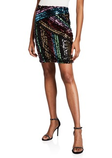 Nicole Miller Rainbow Sequin Striped Straight Skirt
