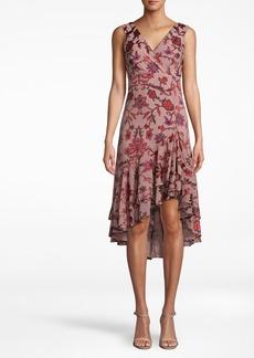 Nicole Miller Red Vine V-neck Sleeveless Dress