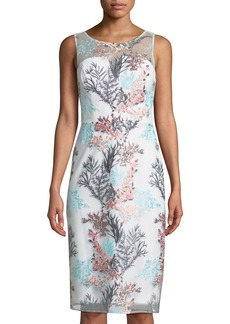 Nicole Miller Round-Neck Sleeveless Bustier Floral-Embroidered Cocktail Dress