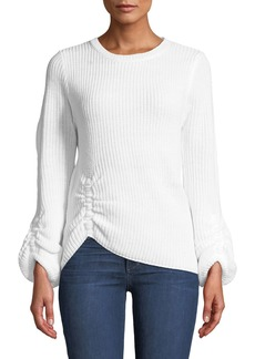 Nicole Miller Ruched Balloon-Sleeve Sweater