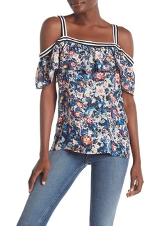 Nicole Miller Ruffle Floral Top