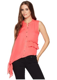 Nicole Miller Ruffle Sleeveless Top