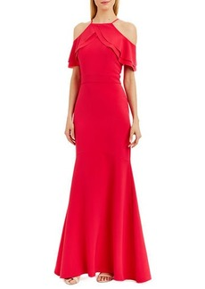 Nicole Miller Ruffle-Trim Cold-Shoulder Mermaid Gown
