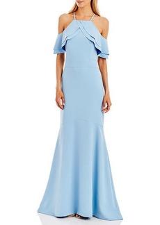Nicole Miller Ruffle-Trim Cold-Shoulder Mermaid Gown