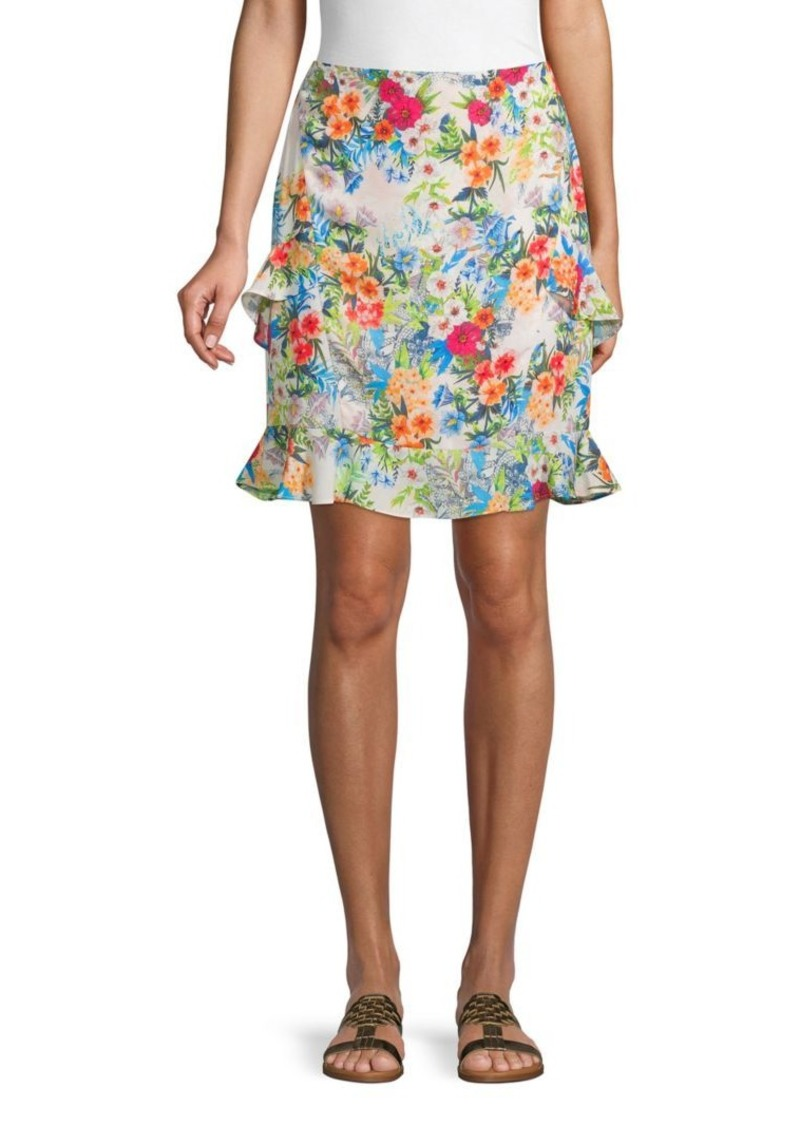 Nicole Miller Ruffle-Trimmed Floral Skirt