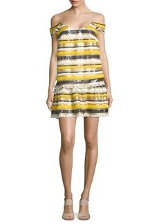 Nicole Miller Ruffled Cold Shoulder Dress