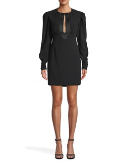 Nicole Miller Satin Back Crepe Keyhole Mini Dress