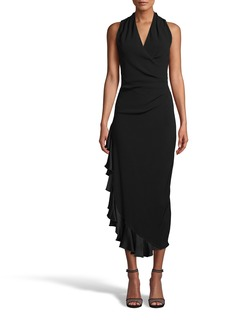Nicole Miller Satin Back Crepe Midi Dress W/ Ruffle