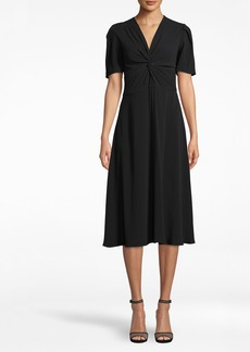 Nicole Miller Satin Back Crepe Twist Front Dress