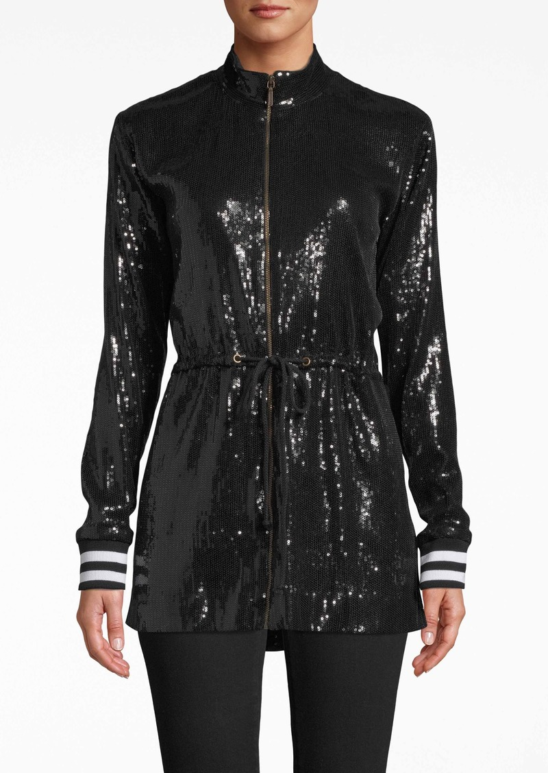 Nicole Miller Sequin Drawstring Jacket