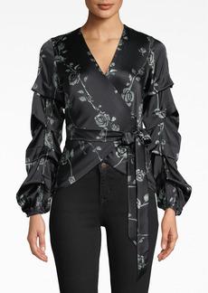 Nicole Miller Sequin Floral Wrap Blouse With Tidal Pleats
