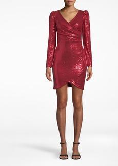 Nicole Miller Sequin Long Sleeve Surplice Dress