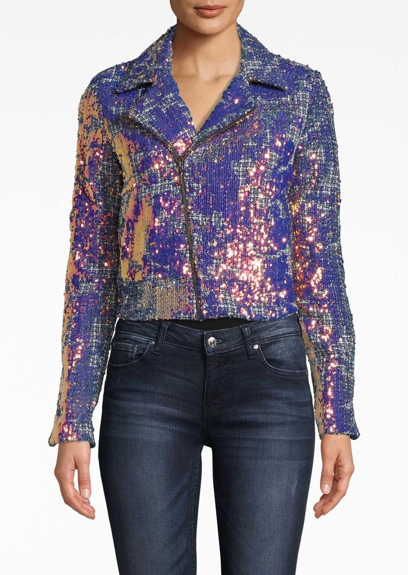 Nicole Miller Sequin Tweed Moto Jacket