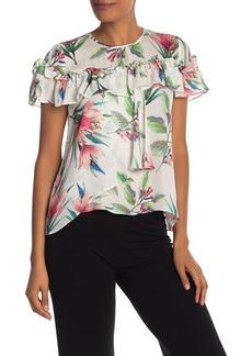 Nicole Miller Short Sleeve Floral Print Ruffle Silk Blouse