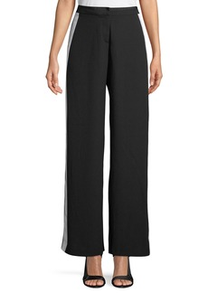 Nicole Miller Side-Striped Wide-Leg Pants