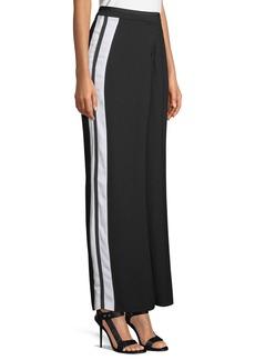 Nicole Miller Side-Striped Wide-Leg Pants