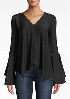 Nicole Miller Silk Bell Sleeve Top