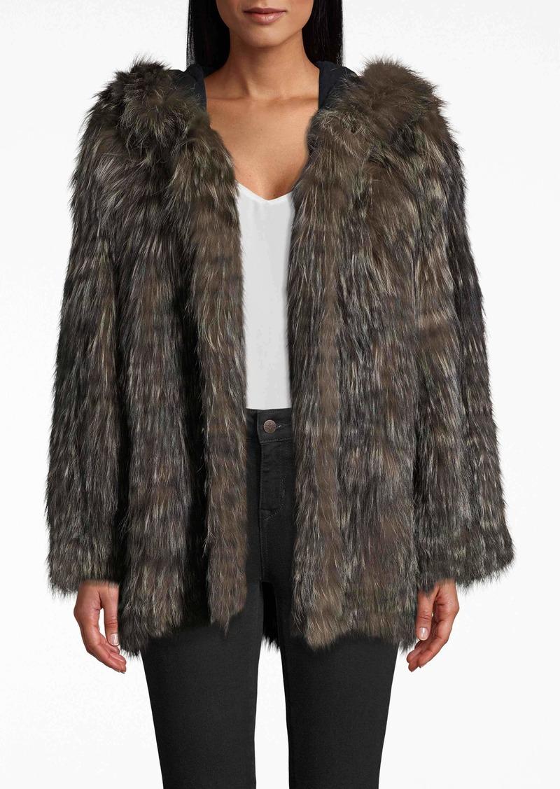 Nicole Miller Silver Fox Stripes Hood Jacket