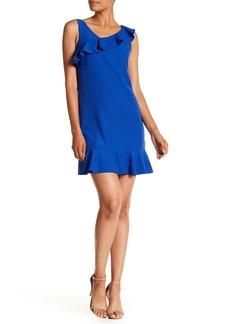 Nicole Miller Sleeveless Asymmetrical Ruffle Dress