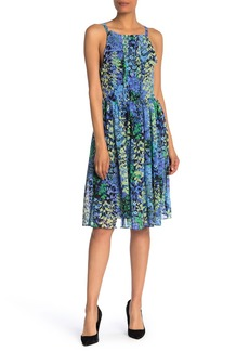 Nicole Miller Sleeveless Floral Print Pleated Dress
