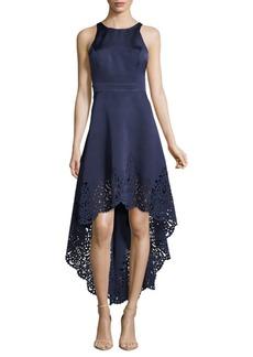 Nicole Miller Sleeveless Hi-Lo Laser-Cut Gown