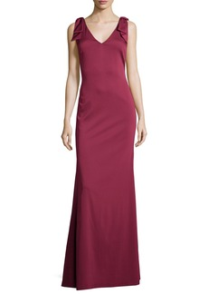 Nicole Miller Sleeveless V-Neck Slim Gown