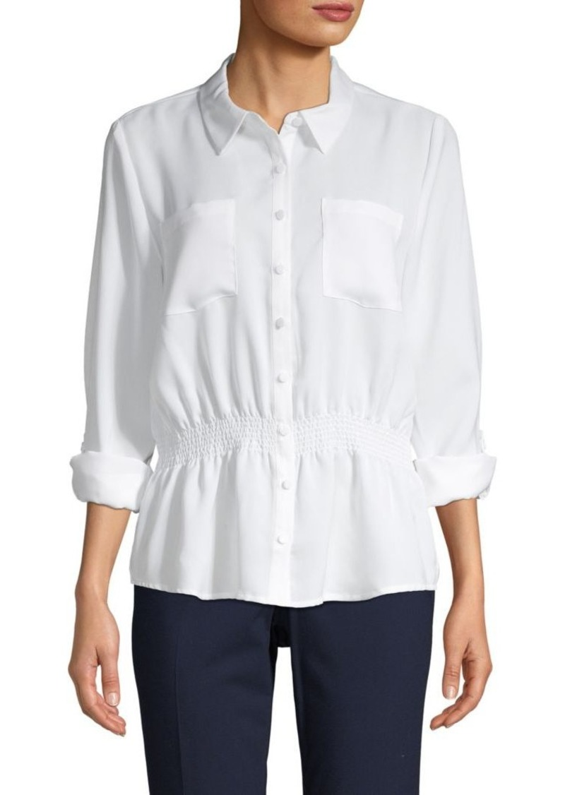 Nicole Miller Smocked Waist Long-Sleeve Shirt